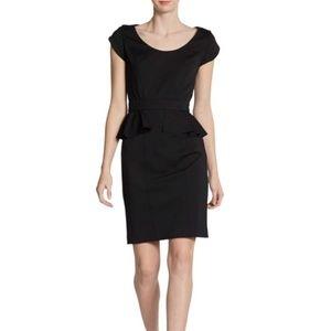 Rebecca Taylor black ponte peplum dress, size 8